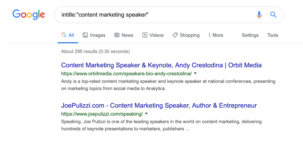 content marketing speaker advanced Google search