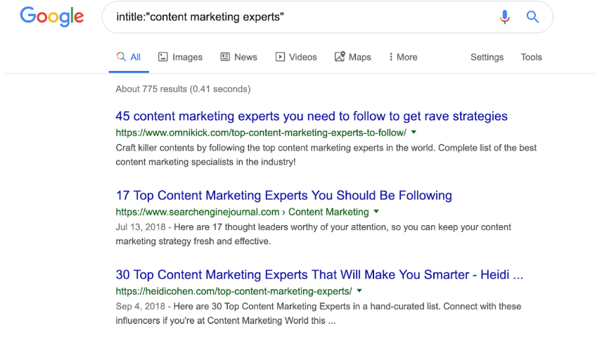 content marketing experts lookup on Google